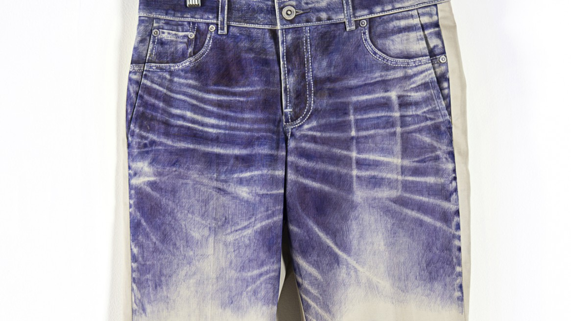 Ballpoint Pen Drawing of Jeans on Khakis