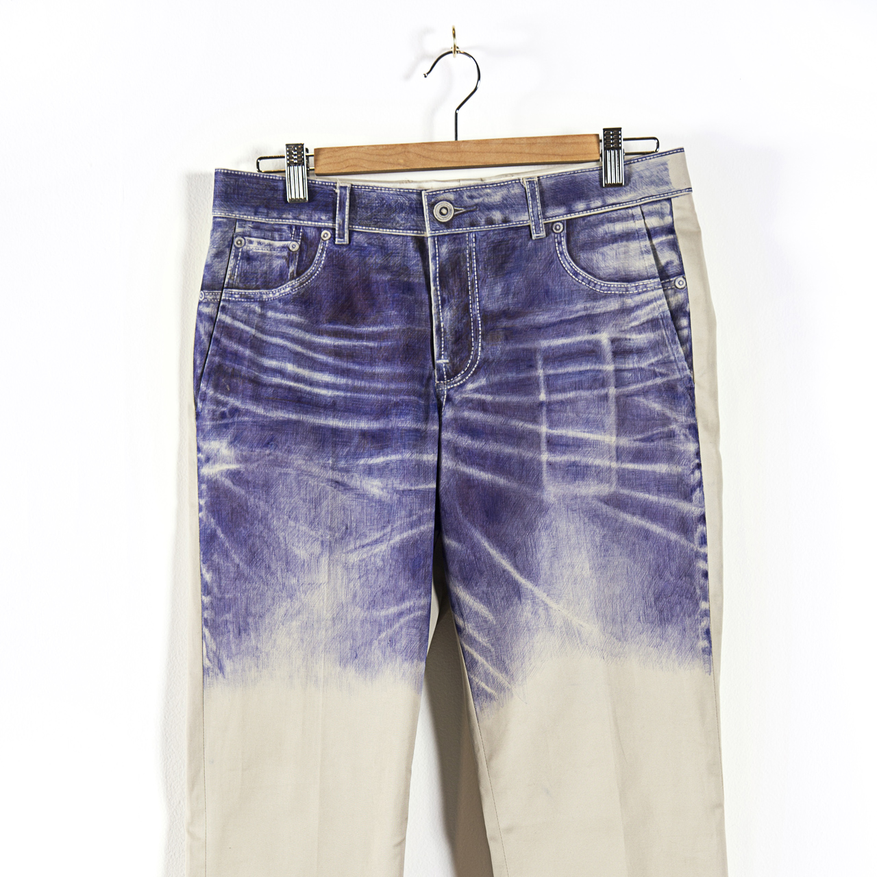 Ben Garthus, Ballpoint pen drawing of favorite pair of jeans on least favorite pair of khakis. sq